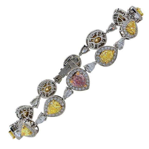 9.89 Carat Natural Fancy Colored Diamond Bracelet (Platinum) - Jewelry Boston