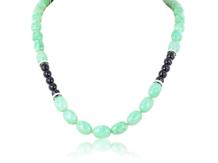 917.09 Carat Jade Necklace With 5.39 Carats Of Diamonds - Jewlery Boston