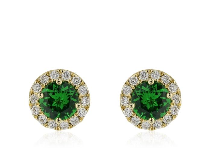 .92 Carat Tsavorite Earrings (14K Yellow Gold) - Jewelry Boston