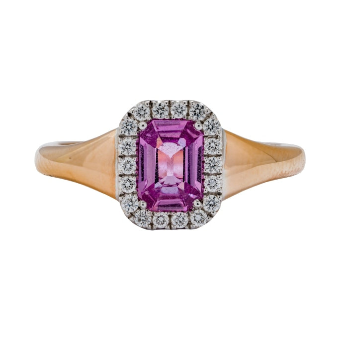 .92ct Emerald Cut Pink Sapphire & Diamond Ring (Two Tone) - JEWELRY Boston