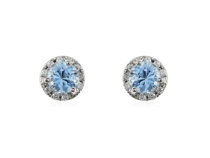 .95 Carat Aquamarine Diamond Earrings - Jewelry Boston