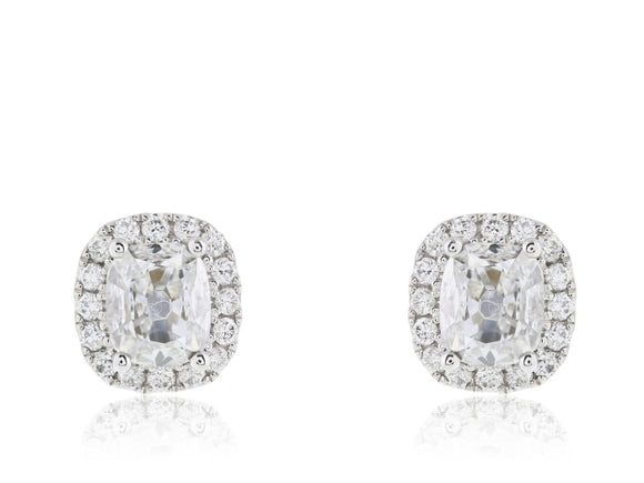 .96 Carat Cushion Cut Diamond Earrings - Jewelry Boston