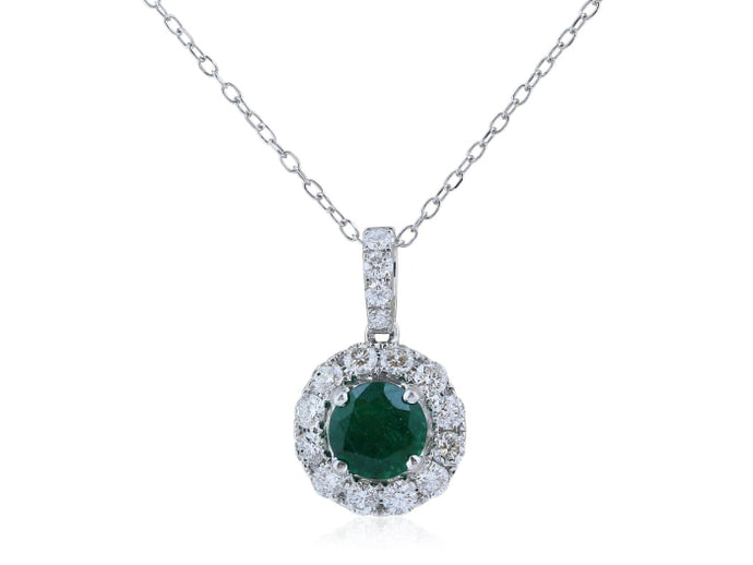 .97 Carat Emerald And .62 Carat Diamond Pendant - Boston