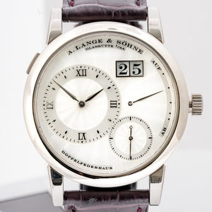 A. Lange & Sohne Lange 1 Mother of Pearl Guilloche Dial White Gold 38.5mm (110.030) - Boston