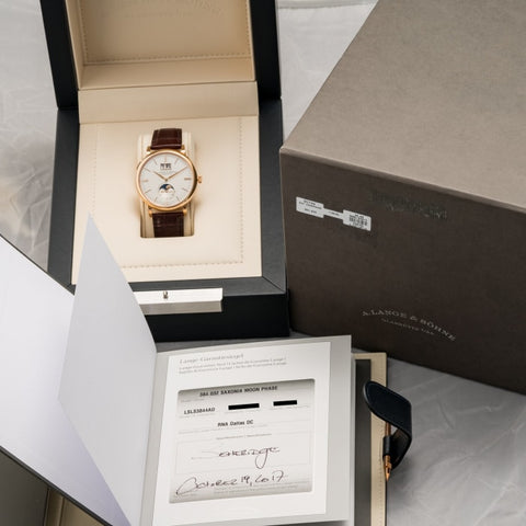 A. Lange & Sohne Saxonia Moonphase Rose Gold 40Mm (384.032) - Boston
