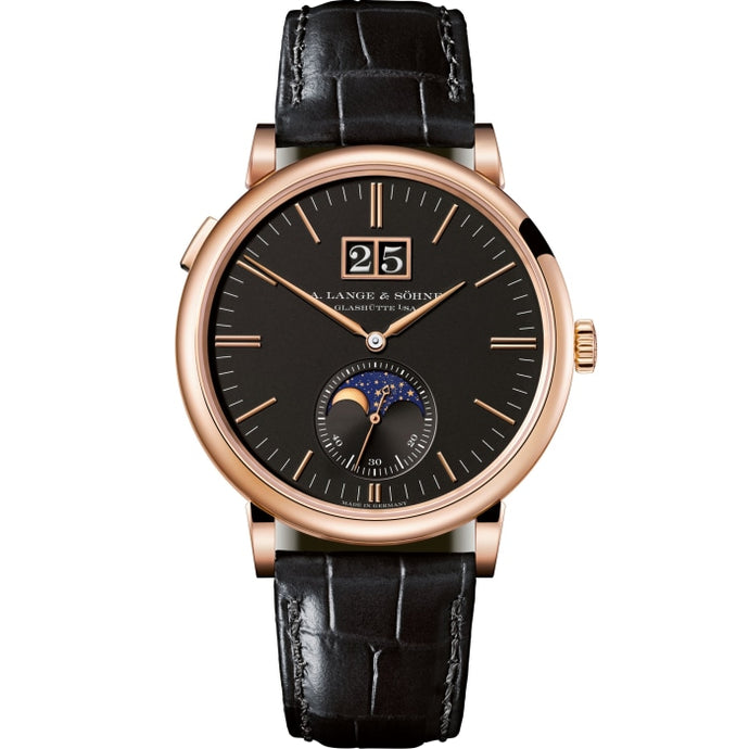 A. Lange & Sohne Saxonia Moonphase Rose Gold Black Dial (384.031) - Boston
