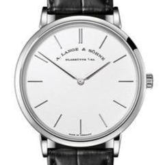 A. Lange & Sohne Saxonia Thin 37mm White Gold/Strap (201.027) - WATCHES Boston