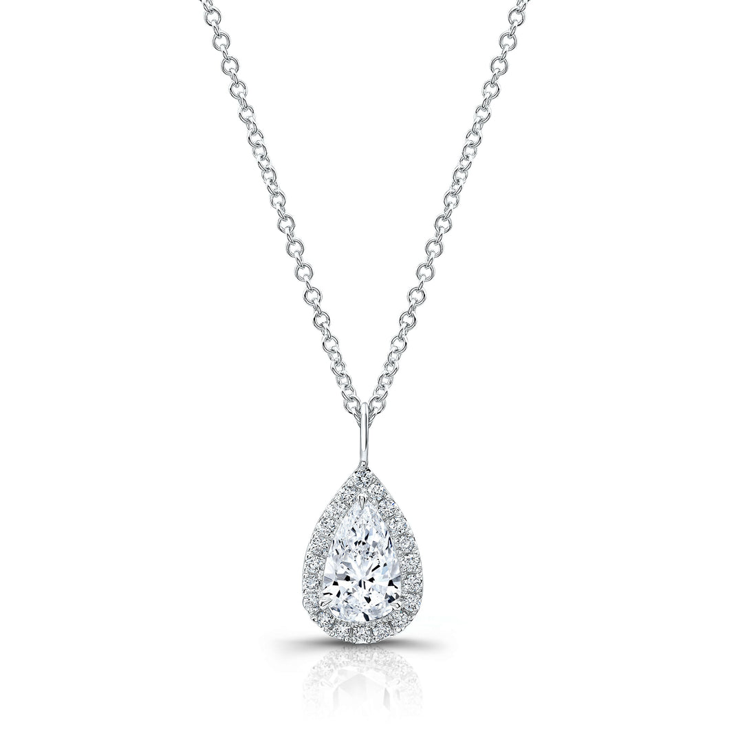 0.60ctw Pear Shape Diamond Halo Pendant (White Gold) - Jewelry Designers Boston