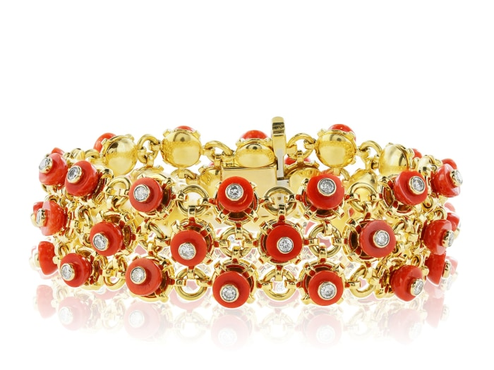 Aletto Brothers Coral And Diamond Bracelet - Jewelry Boston