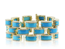 Load image into Gallery viewer, Aletto Brothers Turquoise And Diamond Bracelet - Jewelry Boston
