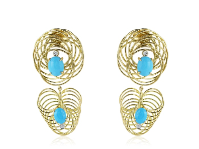 Aletto Brothers Turquoise And Diamond Drop Earring - Jewelry Boston