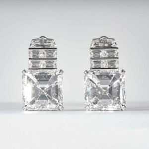 An exceptional pair of 18.21 carat Asscher Cut Diamond Earrings (GIA certified) - JEWELRY Boston