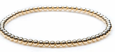Yellow Gold Bead Bracelet 3mm - Boston