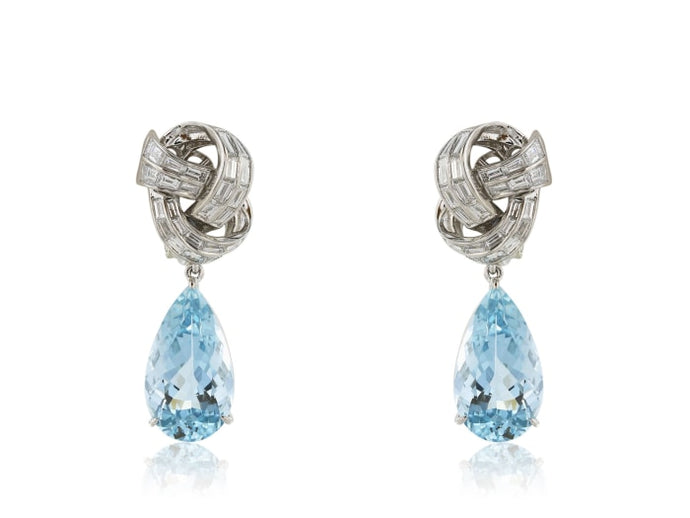 Aquamarine And Diamond Drop Earrings - Jewelry Boston