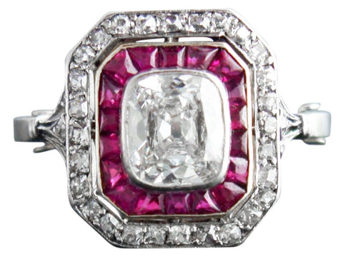 Art Deco Diamond And Ruby Ring (Platinum) - Jewelry Boston