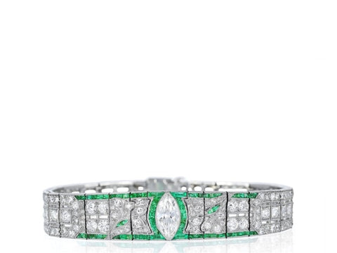 Art Deco Emerald And Diamond Bracelet (Platinum) - Jewelry Boston