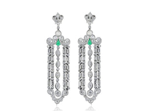 Art Deco Emerald And Diamond Chandeleir Earrings (Platinum) - Jewelry Boston