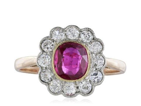 Art Deco Style 1.00 Carat Ruby & Diamond Ring - Jewelry Boston