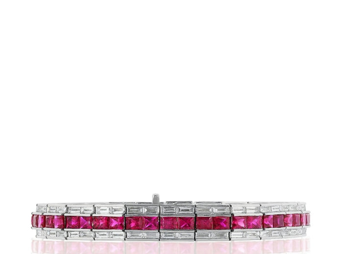 Art Deco Style Ruby & Diamond Flexible Bracelet (White Gold) - JEWELRY Boston