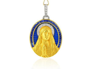 Art Nouveau Plique-a-jour Sapphire & Diamond Madonna Pendant - Boston