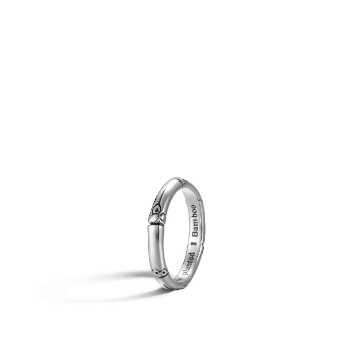 Bamboo 3mm Silver Slim Ring - Jewelry Designers Boston