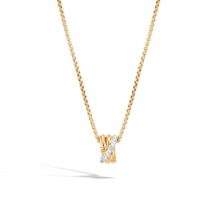 Bamboo Pave Pendant & Necklace (Yelllow Gold) - Jewelry Designers Boston