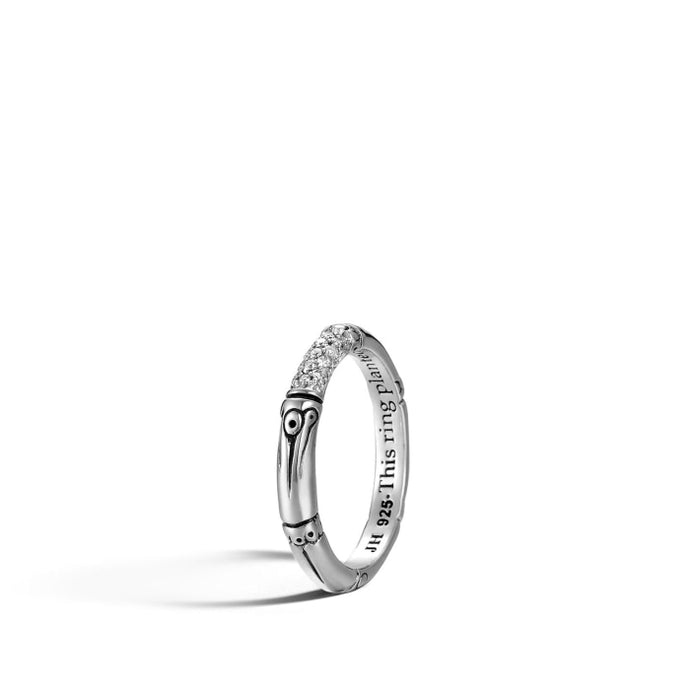 Bamboo Silver & Diamond Pave Slim Ring - Jewelry Designers Boston