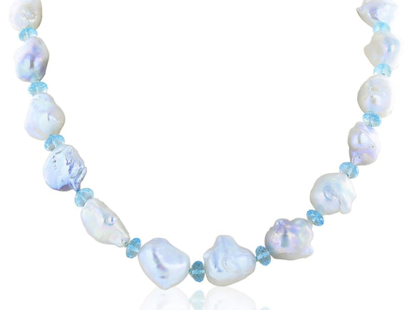 Baroque Pearl And Aquamarine Necklace - Jewelry Boston