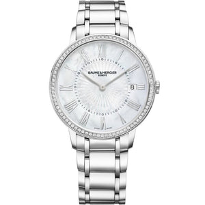 Baume & Mercier Classima 36Mm Stainless Steel W/ Diamonds (10227) - Watches Boston