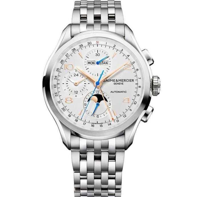 Baume & Mercier Clifton Complete Calendar Gmt Chronograph Moonphase 43Mm Stainless Steel (10279) - Watches Boston