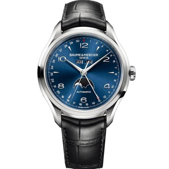 Baume & Mercier Clifton Full Calendar Stainless Steel 43Mm (10057) - Watches Boston