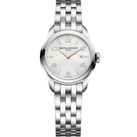 Baume & Mercier Clifton Ladies 30Mm Stainless Steel (10175) - Watches Boston