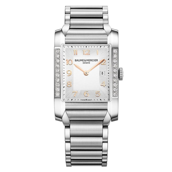 Baume & Mercier Hampton Ladies 27Mm Stainless Steel W/ Diamonds (10023) - Watches Boston