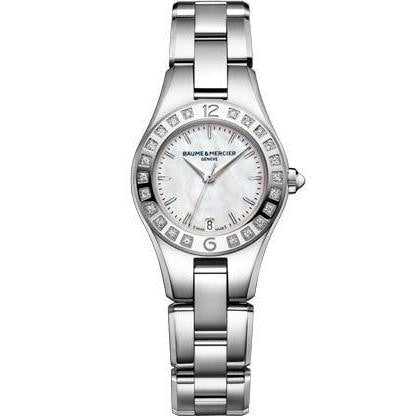 Baume & Mercier Linea 27Mm Steel And Diamonds (M0A10078) - Watches Boston