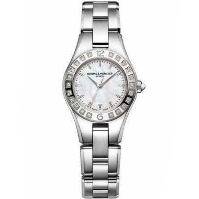 Baume & Mercier Linea Ladies 27Mm Stainless Steel W/ Diamonds (10078) - Watches Boston
