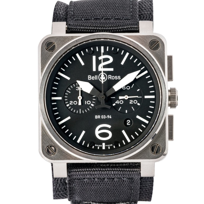 Bell & Ross Military Aviation Chronograph Stainless Steel 42Mm (Br03-94 Steel) - Boston