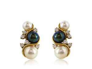 Black And White Pearl Clip Earrings - Jewelry Boston