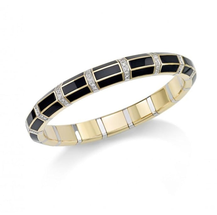 Black Onyx & Diamond Xpandable Bracelet (Two Tone) - Jewelry Designers Boston