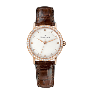 Blancpain Ladies Villeret Ultra Thin Automatic 18K Rose Gold W/ Diamonds 29Mm (6102-2987-55A) - Watches Boston