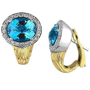 Blue Topaz And Diamond Clip Earrings - Jewelry Boston