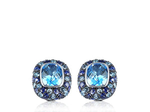 Blue Topaz And Sapphire Clip Earrings - Jewelry Boston
