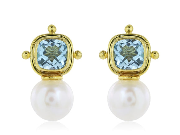 Blue Topaz & Pearl Drop Earrings (18K Yellow Gold) - Jewelry Boston