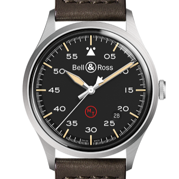 B&R Military 38.5mm Black Dial Brown Strap - Boston