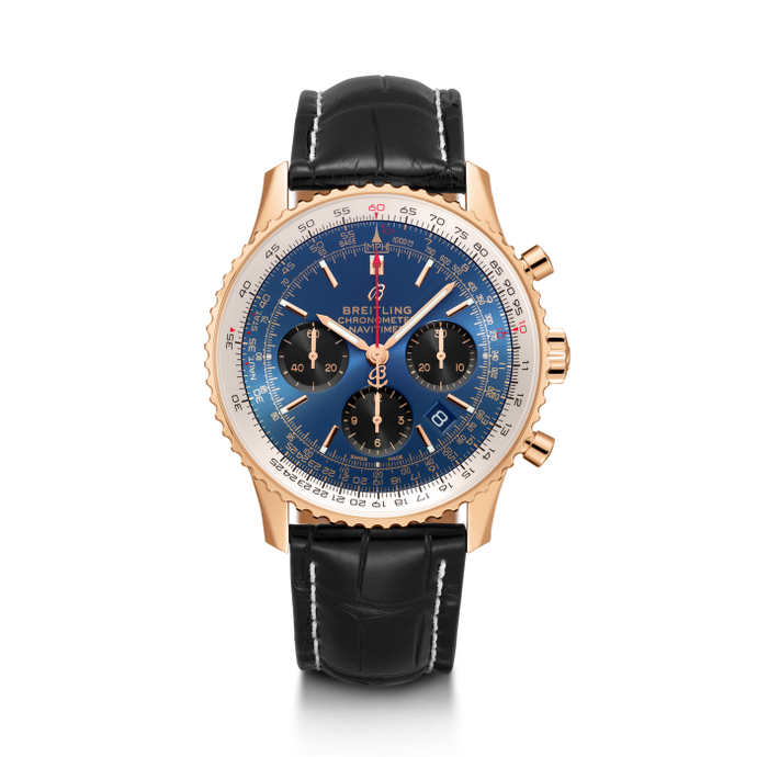 Breitling Navitimer 1 B01 Chronograph 43Mm Red Gold/leather Strap (Rb0121211C1P1) - Watches Boston