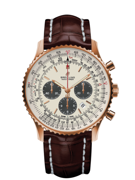 Breitling Navitimer 1 B01 Chronograph 46Mm Red Gold/leather Strap (Rb0127121G1P1) - Watches Boston