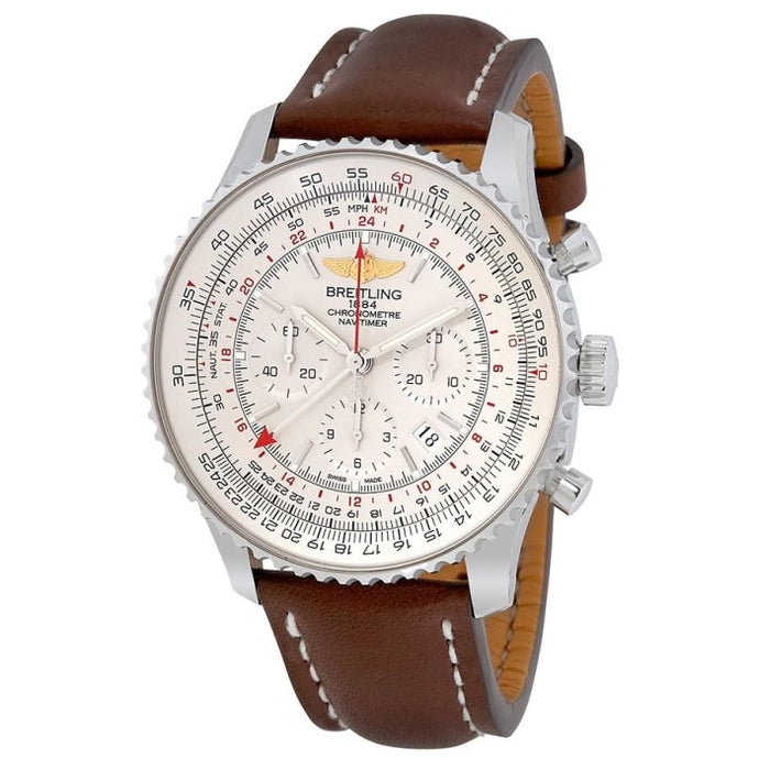Breitling Navitimer Gmt 48Mm Chronograph Stainless Steel/leather Strap (Ab044121/g783/757P/a20) - Watches Boston