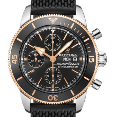 Breitling Superocean Heritage II Chronograph Stainless Steel/18K Rose Gold 44 Black (U13313121B1S1) - Boston