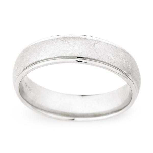 Brush Finish Wedding Band (Palladium) - JEWELRY Boston