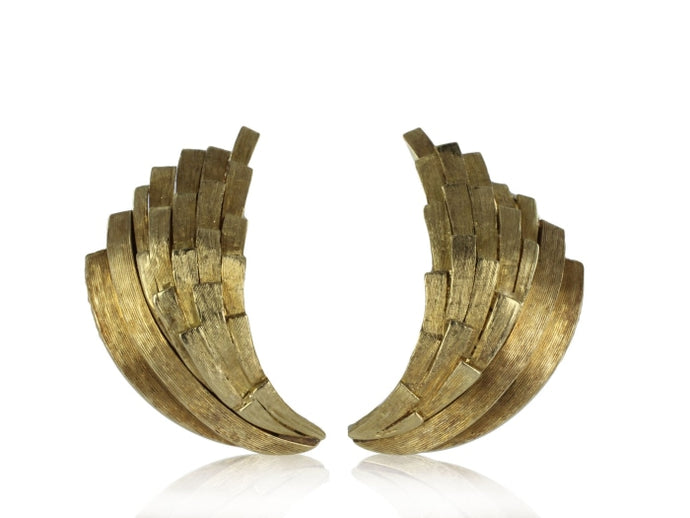 Brushed Gold Earrings (Yellow Gold) - JEWELRY Boston