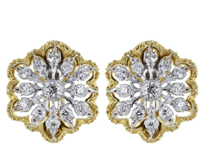 Buccellati Cassiopea Design Open Work Diamond Clip Earrings - Jewelry Boston